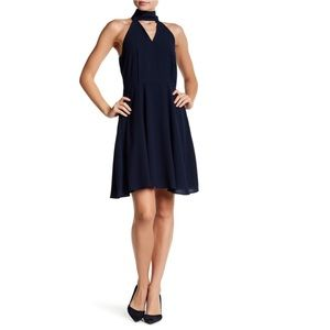 Navy Chiffon Fit and Flare